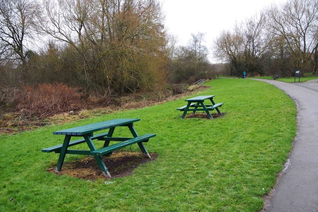 Two picnic tables in Hazelwell Park, Stirchley, Birmingham