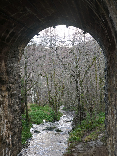 Path and stream under the Dingwall to Garve railway line