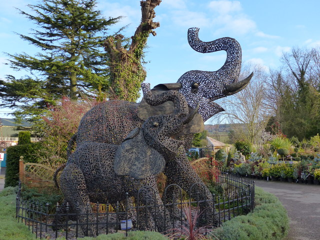 Elephant sculpture in the grounds of Otter Nurseries, near Ottery St Mary