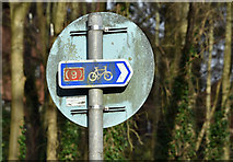 J3371 : National Cycle Network sign, Stranmillis, Belfast (January 2017) by Albert Bridge