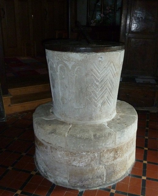 "Thorney Island - St Nicholas - Norman ""tub"" font"