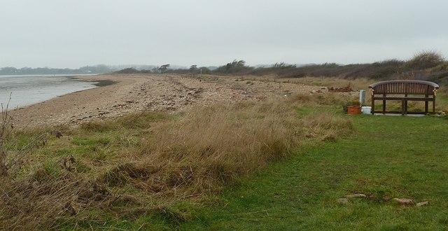 Thorney Island coast and memorial bench