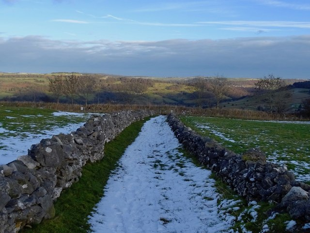 Snowy Longload Lane heading for Cromford