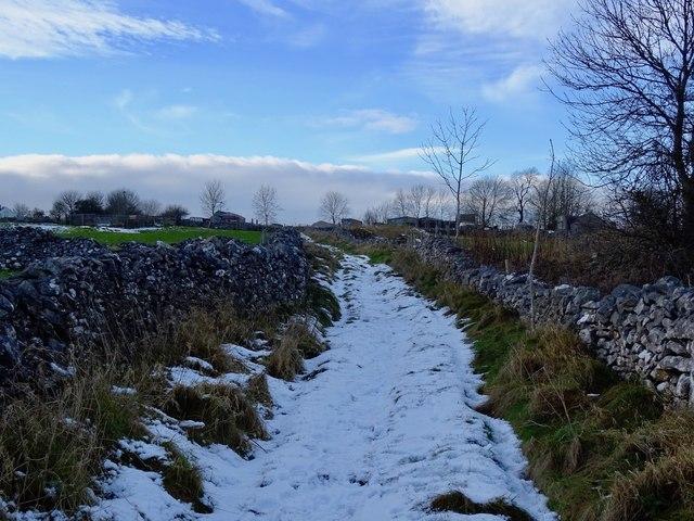 Snowy Longload Lane heading for Duke Street