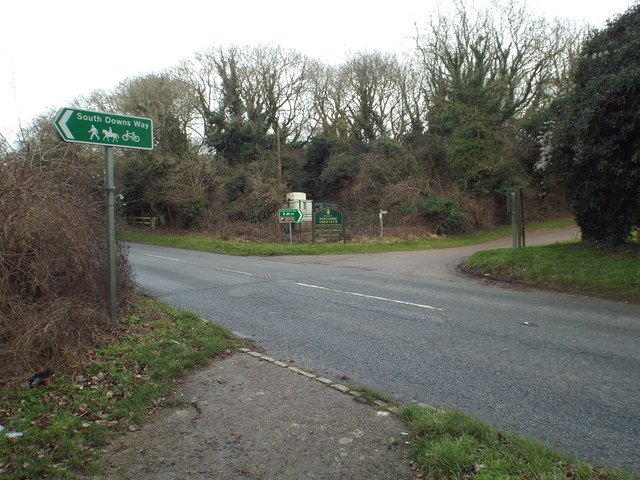 South Downs Way crossing the A273 near Pyecombe