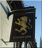 SD9323 : Sign for the Golden Lion public house, Todmorden by JThomas