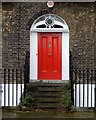 TQ3183 : Front door and fanlight, No. 40 Myddelton Square by Jim Osley