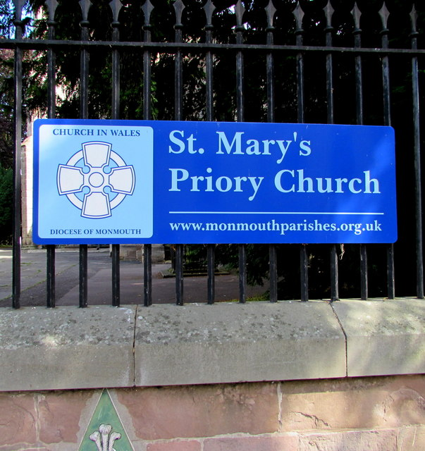 St Mary's Priory Church nameboard, Monmouth