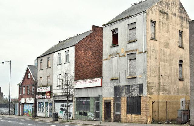 Derelict buildings, York Road, Belfast (January 2017)