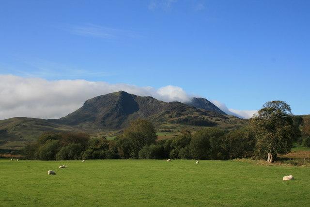 Farmland to the east of the Cadair Idris massif, North Wales