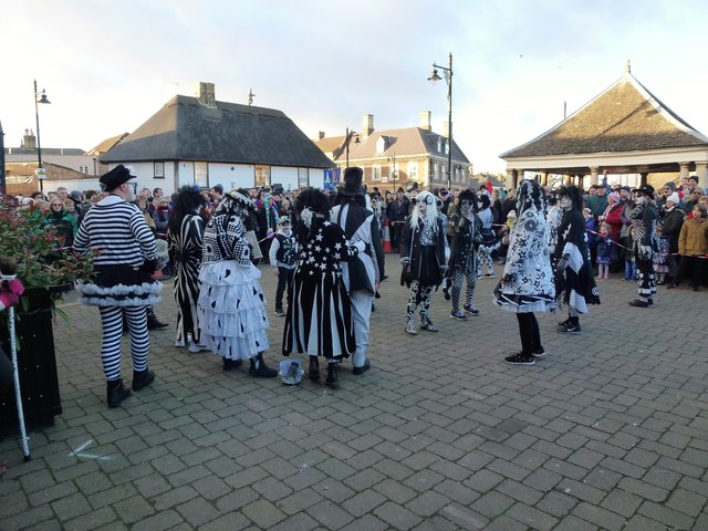 Pig Dyke Molly dancers on The Market Place - Whittlesea Straw Bear Festival 2017