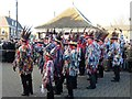 TL2797 : Red Leicester Morris Men on The Market Place - Whittlesea Straw Bear Festival 2017 by Richard Humphrey