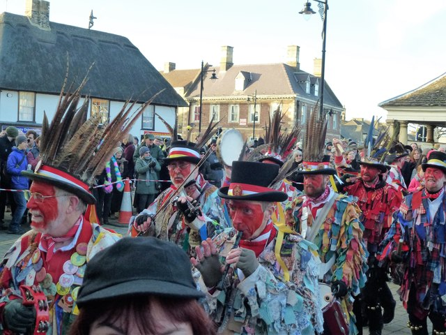 Red Leicester Morris Men leave The Market Place - Whittlesea Straw Bear Festival 2017