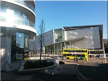 SZ0891 : Bournemouth: the BH2, a bus and a sunspot off the Hilton by Chris Downer