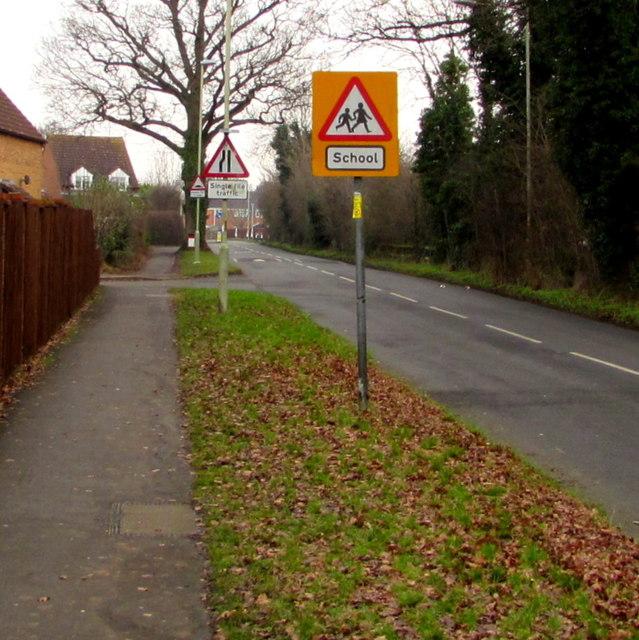 Warning signs facing School Lane, Quedgeley