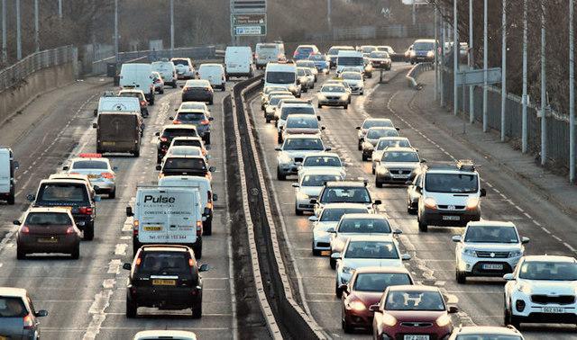 Evening peak traffic, Sydenham bypass, Belfast (January 2017)