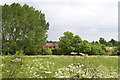 SP3879 : A glimpse of Hungerley Hall Farm across the Sowe, Walsgrave, east Coventry by Robin Stott
