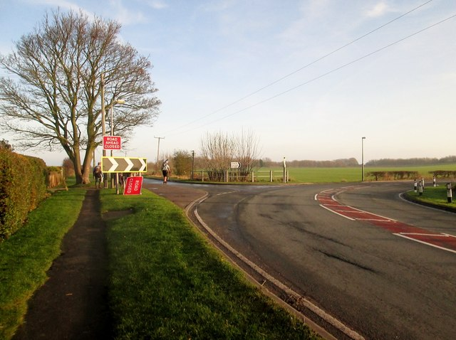 Hornsea  Road  B1242   turning  south  after  leaving  Skipsea