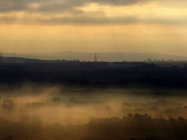 View south-east over mist filled River Tyne Valley