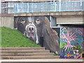 SX9192 : Graffiti/street art on abutment of Exe Bridge North, Exeter by Chris Allen