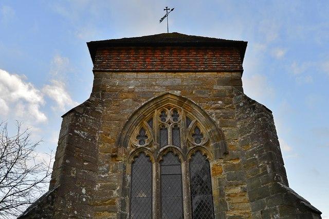 """Penhurst Parish Church tower with its """"Sussex"""" cap"""