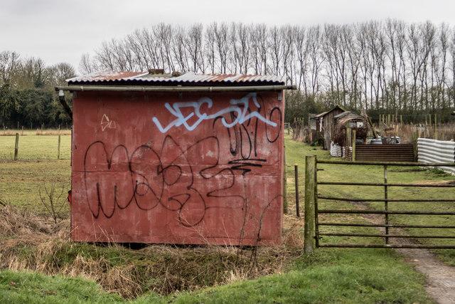Shed with graffiti