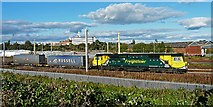 NY4154 : Freightliner 70004 heading south past Upperby depot by Rose and Trev Clough