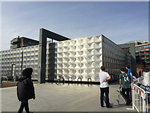 TQ3179 : Skaters admire the Michael Faraday Memorial, Elephant and Castle, south London by Robin Stott