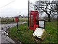 SU4256 : Crux Easton: postbox № RG20 40 and phone box by Chris Downer