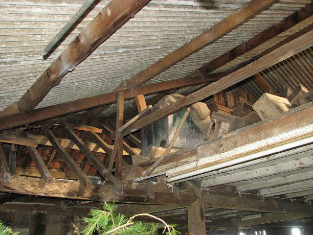 Old galvanised steel water tank