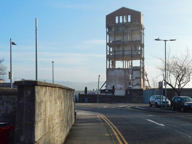 Ballantine's Distillery brick tower during demolition