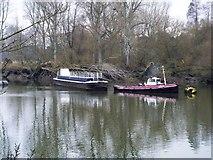 TQ1776 : Tug and barge [3] by Michael Dibb