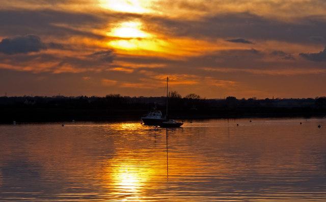 Boats on the Crouch near sundown, North Fambridge