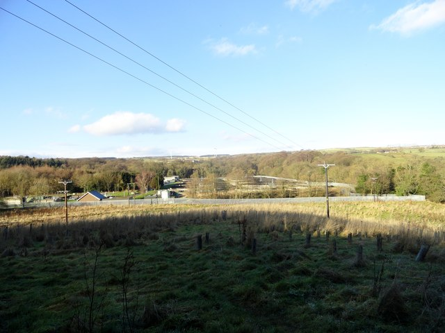 View across to the sewage works at East Law