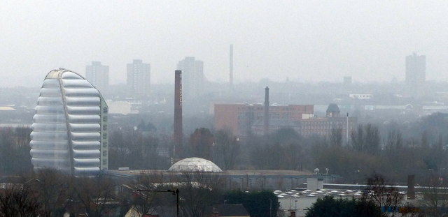 View across the Leicester city skyline