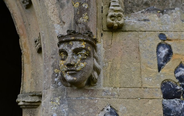 Gissing, St. Mary's Church: Right hand label stop on the c1474 north porch 2
