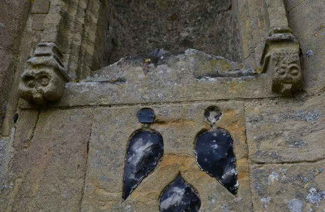 Gissing, St. Mary's Church: Unusual carvings on the c1474 north porch 1