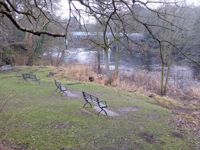 Benches overlooking the River Tees