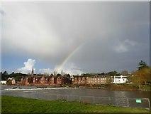 SX9291 : Rainbow over Trews Weir on the River Exe by David Smith