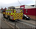 SO5039 : Emergency fire engine,  Belmont Road, Hereford by Jaggery