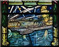 TF8208 : Swaffham, Church of Ss Peter and Paul: WW1 memorial window, Zebrugge scene by Michael Garlick