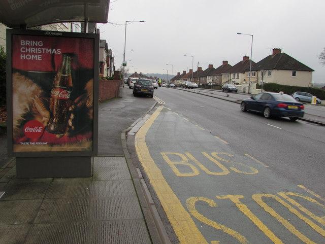 Zero sugar Coca Cola advert on a Malpas Road bus shelter, Newport