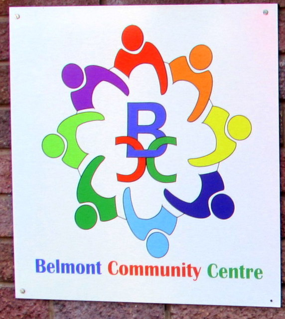 Multicoloured Belmont Community Centre name sign, Hereford