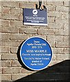 SJ9689 : Blue plaque at Marple Station by Gerald England