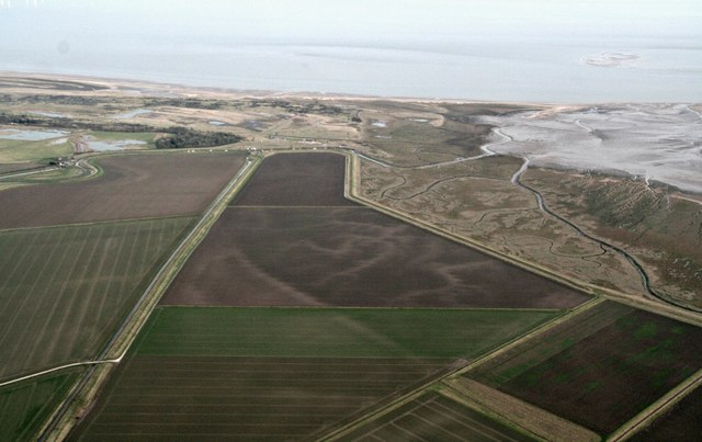 Gibraltar Point, former marshes and site of Wainfleet Harbour: aerial 2017