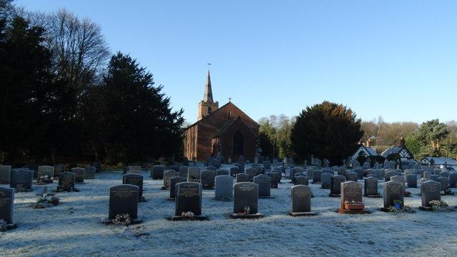Chelford - Church of St John the Evangelist - frosty churchyard