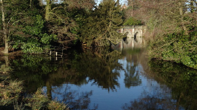 Middle pond & bridge at Capesthorne Hall near Siddington