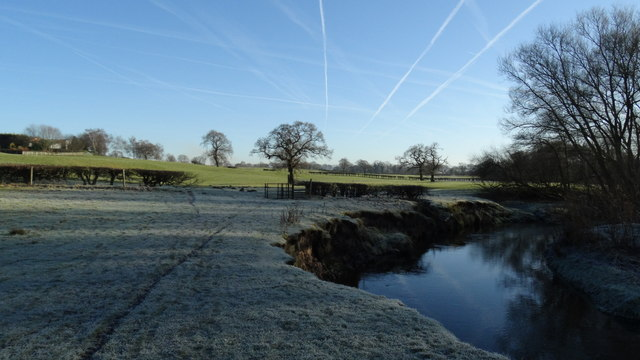 Frosty morning by the R Bollin, S of Dean Row