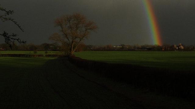 Rainbow towards Henhull Hall near Nantwich