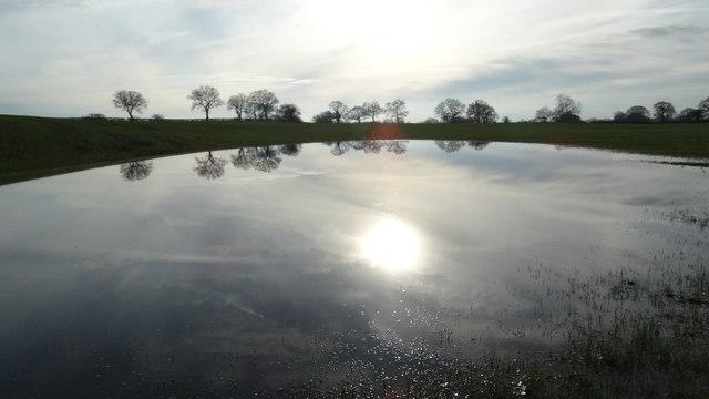 Sun reflection in flooded field by reservoir S of Spen Green